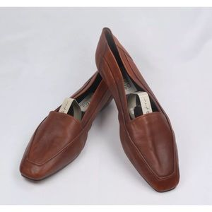 Enzo Angiolini Women's Brown Leather Flat Loafers
